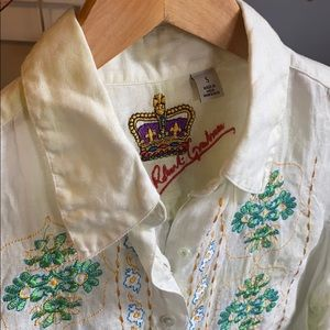 Robert Graham Linen Embroidered Blouse S M2